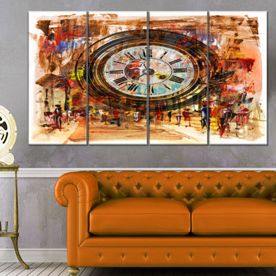 Designart People And Time Acrylic Painting LargeAbstract Canvas Artwork - 4 Panels