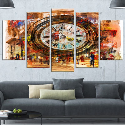 Designart People And Time Acrylic Painting LargeAbstract Wrapped Canvas Artwork - 5 Panels