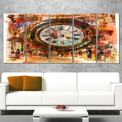 Designart People And Time Acrylic Painting LargeAbstract Canvas Artwork - 5 Panels