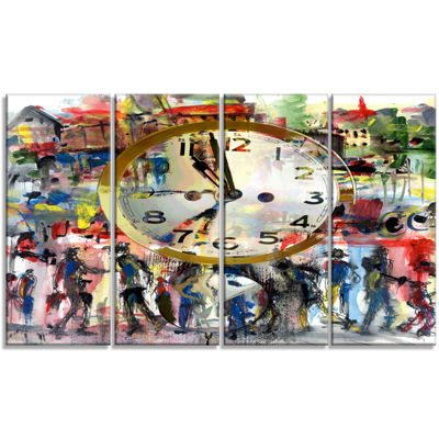 Designart People And Time Acrylic Watercolor LargeAbstractCanvas Artwork - 4 Panels