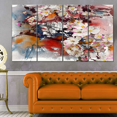 Designart Blossoming Apple Tree Background FloralArt CanvasPrint - 4 Panels