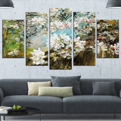 Designart Apple Blossoms With White Flowers FloralArt Canvas Print - 5 Panels