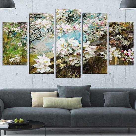Designart Apple Blossoms With White Flowers FloralArt Canvas Print - 5 Panels