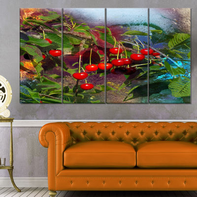 Summer And Cherries Watercolor Floral Art Canvas Print - 4 Panels
