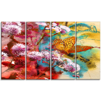 Designart Butterfly And Abstract Design WatercolorFloral Art Canvas Print - 4 Panels