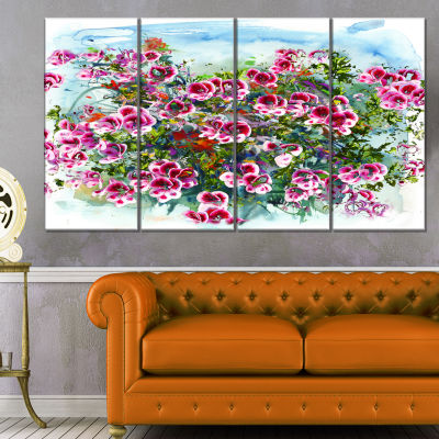 Designart Purple Flowers Watercolor IllustrationFloral Art Canvas Print - 4 Panels