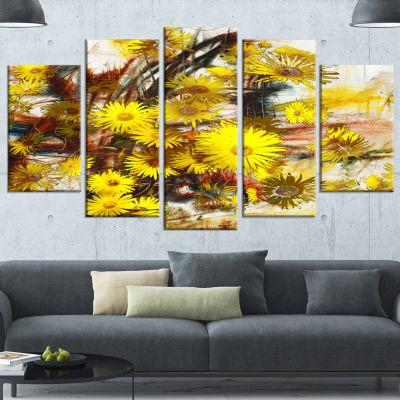 Designart Yellow Flowers Watercolor IllustrationLarge Floral Art Canvas Print - 5 Panels