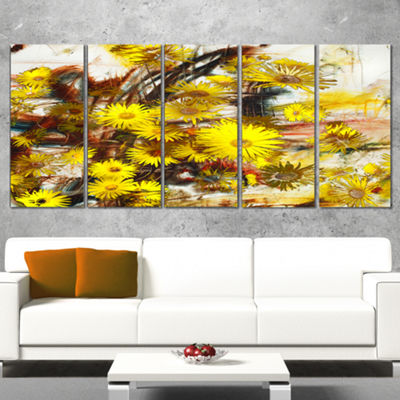 Designart Yellow Flowers Watercolor IllustrationFloral Art Canvas Print - 5 Panels