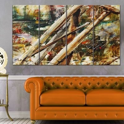 Designart Tools And Abstract Pattern Large Abstract Canvas Artwork - 4 Panels