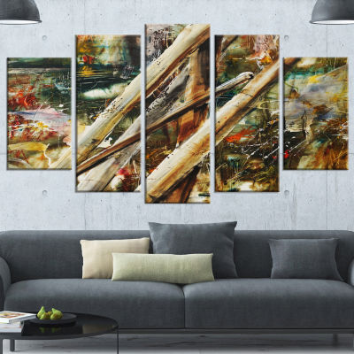 Designart Tools And Abstract Pattern Large Abstract Wrapped Canvas Artwork - 5 Panels
