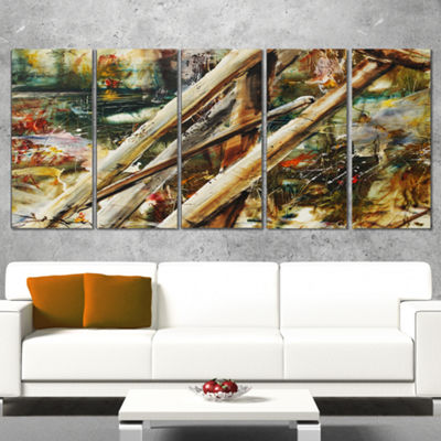 Designart Tools And Abstract Pattern Large Abstract Canvas Artwork - 5 Panels