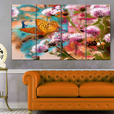 Designart Yellow Butterfly On Thistle Flowers Floral Art Canvas Print - 4 Panels
