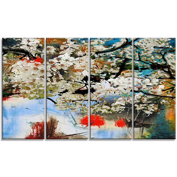 Designart Spring Motif With Small White Flowers Extra LargeFloral Wall Art - 4 Panels