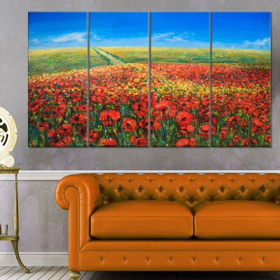 Acrylic Landscape With Red Flowers Extra Large Floral Wall Art - 4 Panels