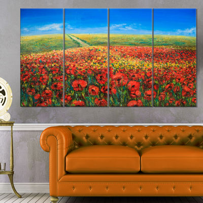 Designart Acrylic Landscape With Red Flowers ExtraLarge Floral Wall Art - 4 Panels
