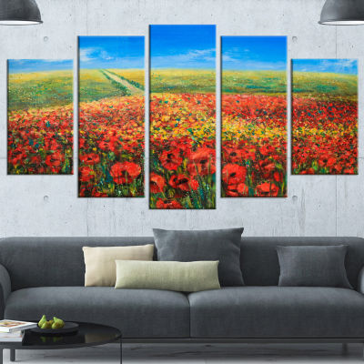 Design Art Acrylic Landscape With Red Flowers Extra Large Floral Wall Art - 5 Panels