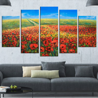 Designart Acrylic Landscape With Red Flowers ExtraLarge Floral Wall Art - 5 Panels