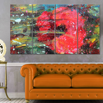 Red Poppy Acrylic Drawing Extra Large Floral WallArt - 4 Panels