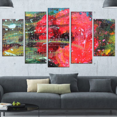 Designart Red Poppy Acrylic Drawing Red Extra Large Floral Wall Art - 5 Panels