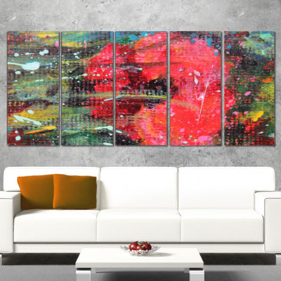 Designart Red Poppy Acrylic Drawing Extra Large Floral Wall Art - 5 Panels