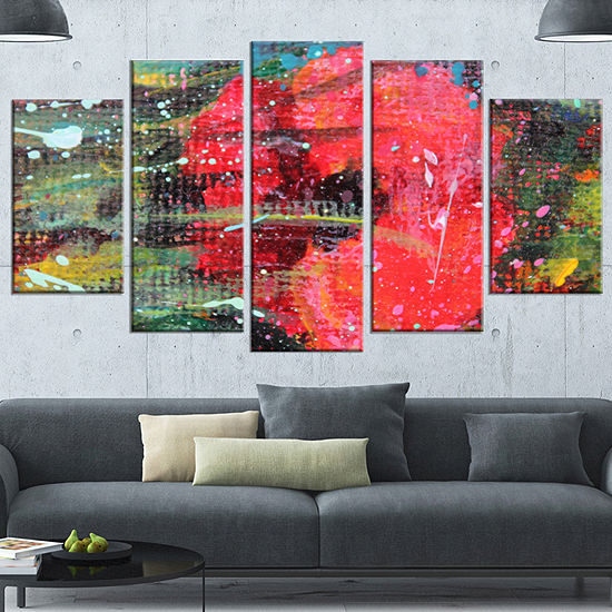 designart red poppy acrylic drawing extra large floral wall art 5
