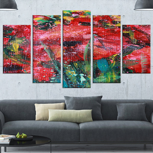 Design Art Red Poppies Acrylic Drawing Extra LargeFloral Wall Art - 4 Panels