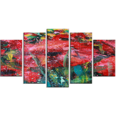 Red Poppies Acrylic Drawing Red Extra Large FloralWall Art - 5 Panels