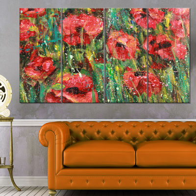 Designart Red Poppies Watercolor Drawing Extra Large FloralWall Art - 4 Panels