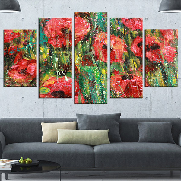 Designart Red Poppies Watercolor Drawing Red ExtraLarge Floral Wall Art - 5 Panels
