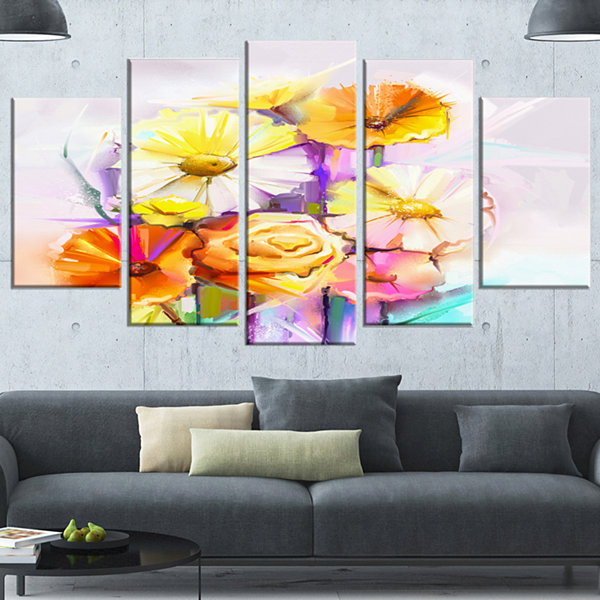 Designart Yellow Pink Gerbera And Rose Bouquet Yellow ExtraLarge Floral Wall Art - 5 Panels