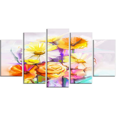 Yellow Pink Gerbera And Rose Bouquet Yellow ExtraLarge Floral Wall Art - 5 Panels