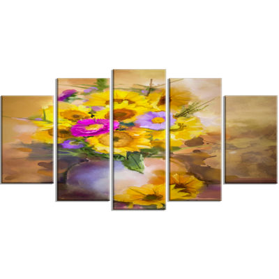Designart Yellow Sunflower And Violet Aster Flowers Yellow Extra Large Floral Wall Art - 5 Panels