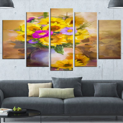 Design Art Yellow Sunflower And Violet Aster Flowers Extra Large Floral Wall Art - 5 Panels