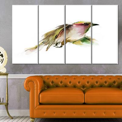 Designart Nice Flight Of Wild Bird On White AnimalCanvas Art Print - 4 Panels