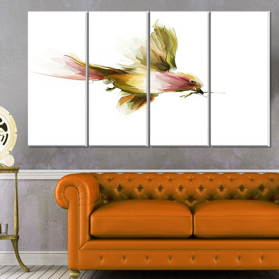 Designart Nice Flight Of Lovely Green Bird AnimalCanvas Art Print - 4 Panels