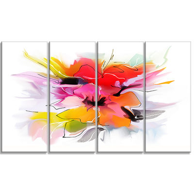Designart Colorful Abstract Flowers On White ExtraLarge Floral Wall Art - 4 Panels