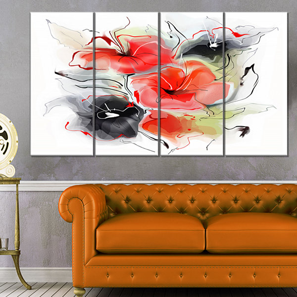 Design Art Red Black Abstract Floral Design ExtraLarge Floral Wall Art - 4 Panels