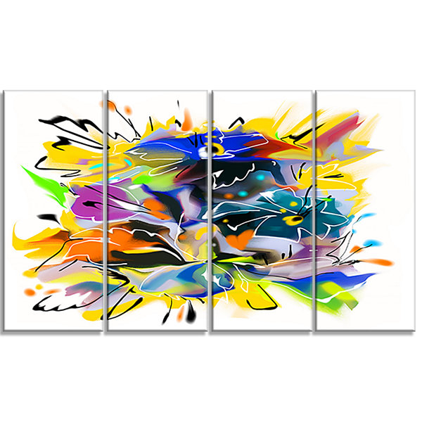 Designart Yellow Blue Abstract Floral Design ExtraLarge Floral Wall Art - 4 Panels