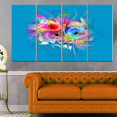 Design Art Summer Colorful Flowers On Blue Extra Large FloralWall Art - 4 Panels