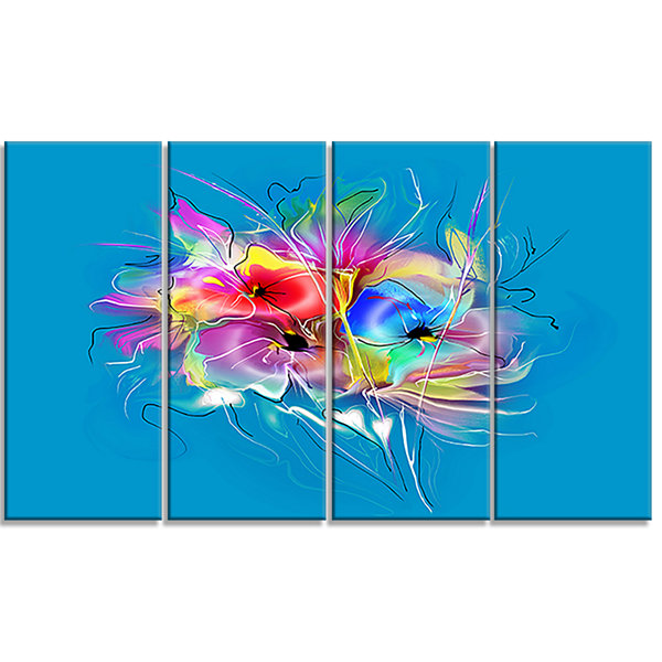 Designart Summer Colorful Flowers On Blue Extra Large FloralWall Art - 4 Panels