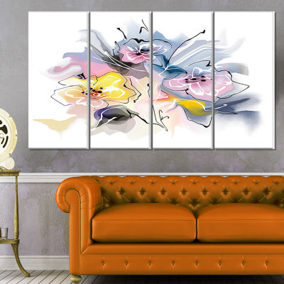 Designart Textured Floral Drawing Extra Large Floral Wall Art - 4 Panels
