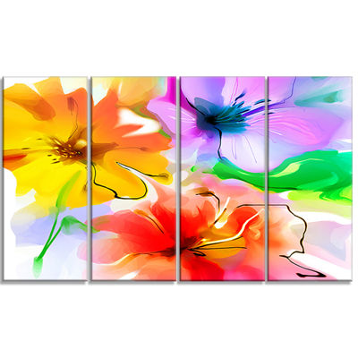 Designart Bunch Of Colorful Flowers Sketch ExtraLarge Floral Wall Art - 4 Panels