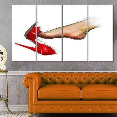 Designart Leg Wearing High Heel Shoe Portrait Canvas Art Print - 4 Panels