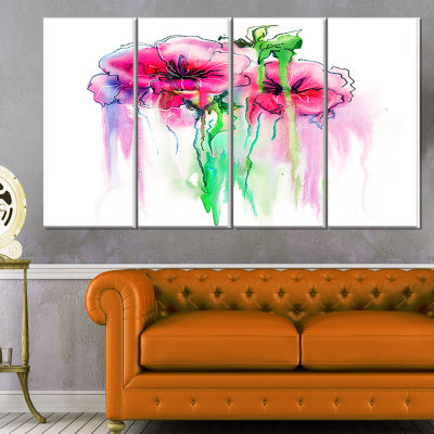 Design Art Colorful Hand Drawn Red Flowers Extra Large FloralWall Art - 4 Panels