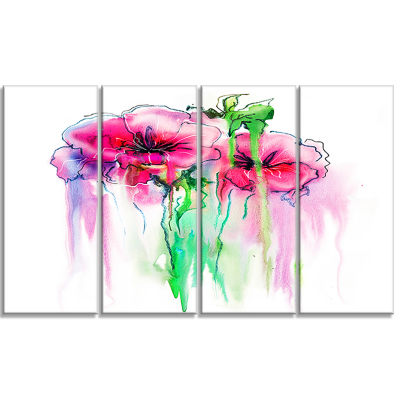 Colorful Hand Drawn Red Flowers Extra Large FloralWall Art - 4 Panels