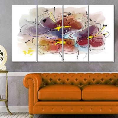 Designart Brown Blue Flower Illustration Art ExtraLarge Floral Wall Art - 4 Panels