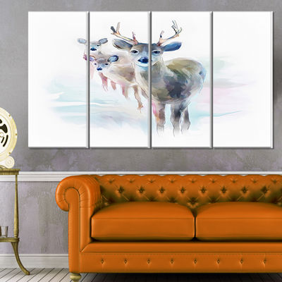 Designart Beautiful Deer With Big Horns Animal Canvas Art Print - 4 Panels