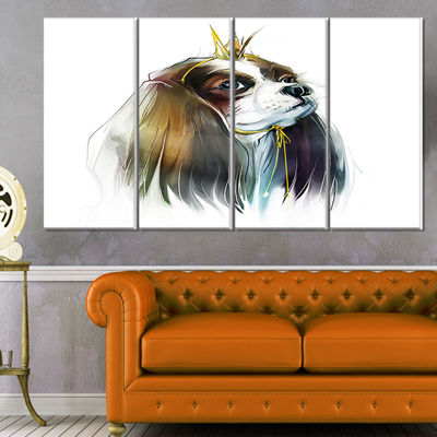 Designart Cute Little Dog In Crown Animal CanvasArt Print -4 Panels