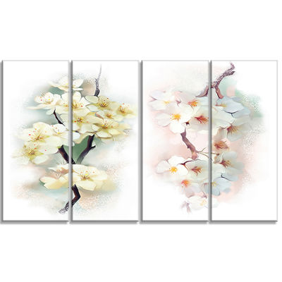 Designart White Flower Bouquet Illustration ExtraLarge Floral Wall Art - 4 Panels