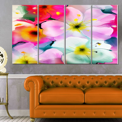 Designart Colorful Watercolor Floral Pattern ExtraLarge Floral Wall Art - 4 Panels